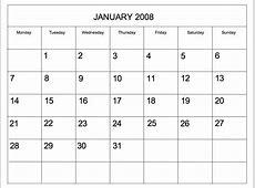 Editable 2008 Blank Calendar