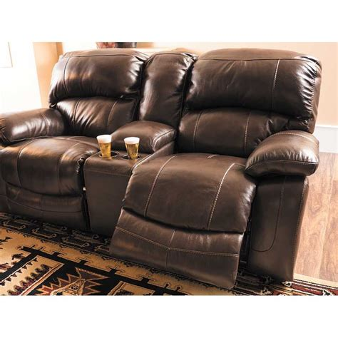 Gliding Loveseat Recliner by Damacio Leather Reclining Gliding Console Loveseat 0s0