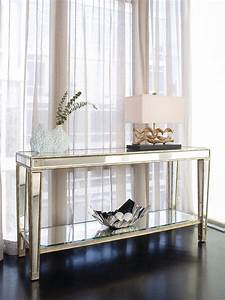 Entry Narrow Mirrored Console Table With Storage And Shelf