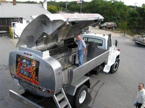 truck turned into a rolling barbecue grill