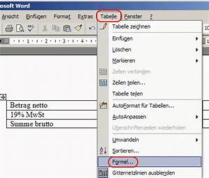 Mehrwertsteuer Berechnen Excel : word 2002 rechnen mit tabellen und formeln bits meets bytes ~ Themetempest.com Abrechnung