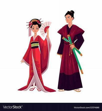 Samurai Kimono Geisha Japanese Traditional Vector Historical