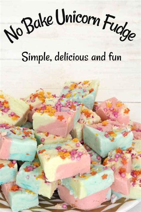 bake unicorn fudge recipe birthday rainbow kids