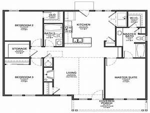 Simple 4 bedroom house plans small 3 bedroom house floor for Simple house plan with 4 bedrooms