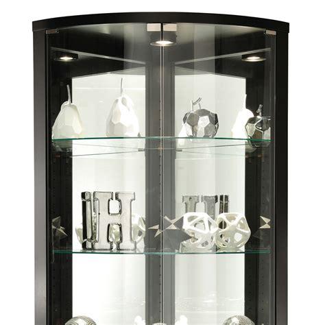 glass curio cabinet with lights modern black glass shelves interior lighting corner curio