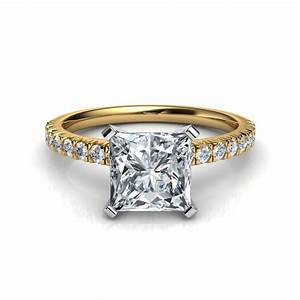 French cut pave engagement ring for Pave wedding rings