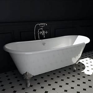 baignoire ilot en fonte 180x79 cm pieds chromes chelsea With peinture pour baignoire en fonte