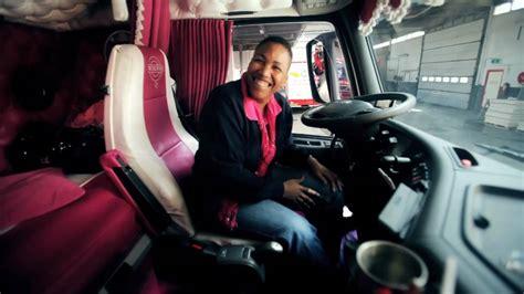 volvo trucks driver dagmar klink shows  pink volvo fh