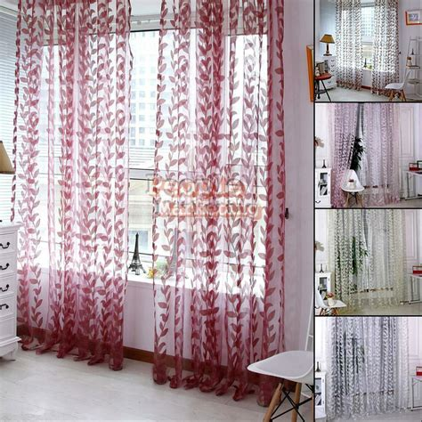 Scarf Drapes - floral tulle voile door window curtain drape panel sheer