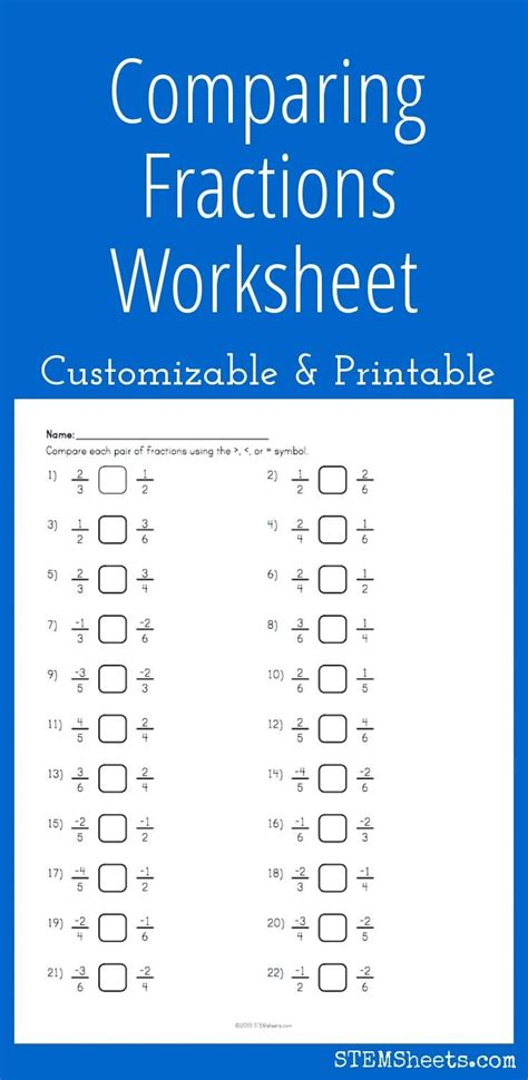 comparing fractions worksheet customizable and printable