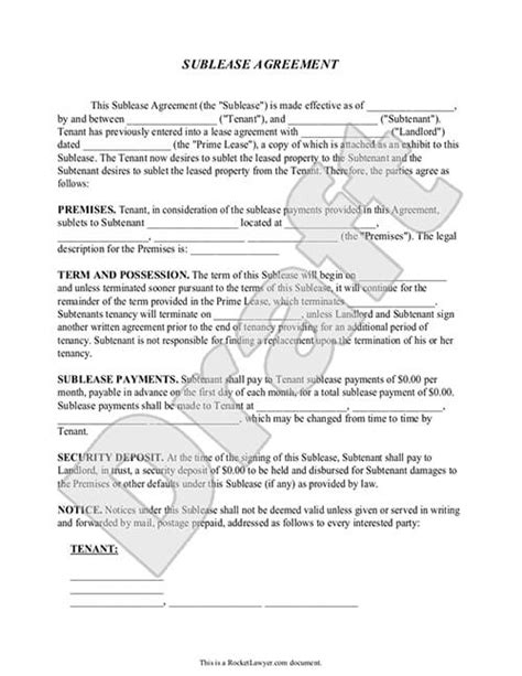 sublease agreements sublease agreement template rocket
