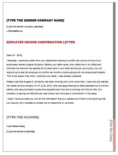 income confirmation letter smart letters