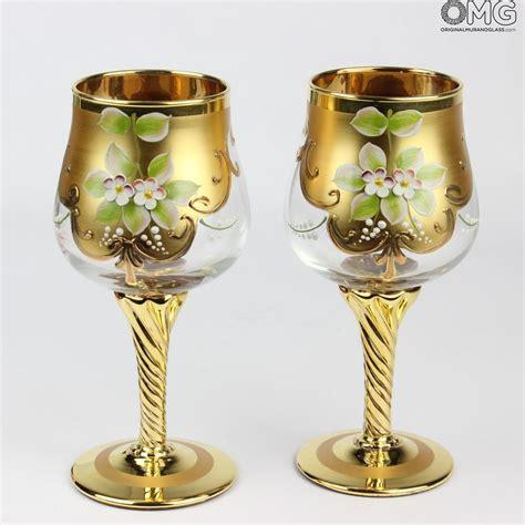 murano bicchieri set di 2 bicchieri tre fuochi cristallo you me vetro