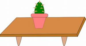 Cactus In Pot On A Table clip art Free Vector / 4Vector