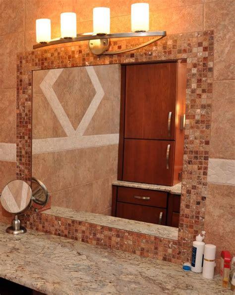 tile frame around bathroom mirror guest bathroom