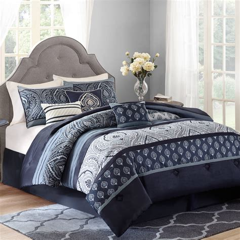 paisley comforter sets better homes and gardens indigo paisley 7 bedding