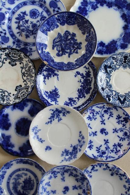 collection antique flow blue china  small plates saucers vintage staffordshire england