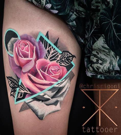 geometric rose tattoo ideas  pinterest