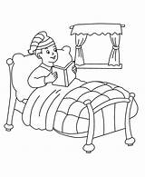 Bed Coloring Pages Boy He Template Reading Sitting Printable Print Para Cama Pintar sketch template