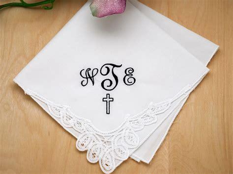 free shipping 3 mens monogrammed handkerchiefs script monogrammed handkerchief w 3 initials cross font j