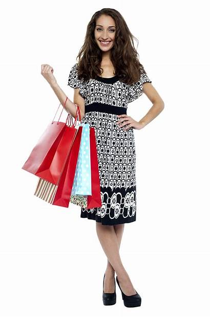 Shopping Gelukkige Mujer Llevan Compras Bolsos Transparent