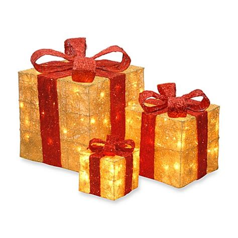 national tree company sisal pre lit gift boxes in gold red