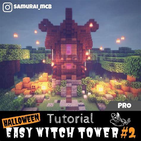 happy halloween easy witch tower building tutorial  minecraftpart build   enjoy
