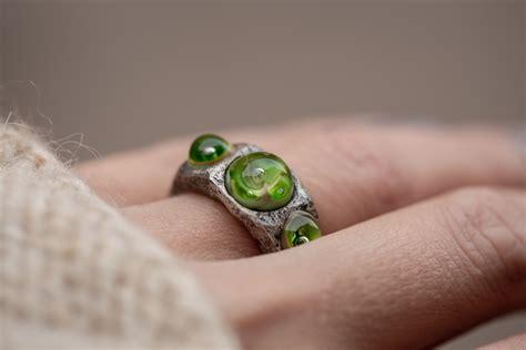 Sidabrinis žiedas su stiklu - Katės akis
