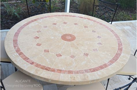 125 -160cm Outdoor mosaic Round Table Natural Stone Top
