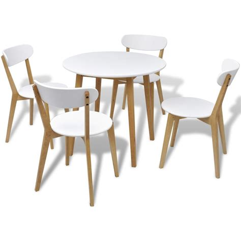 chaise ronde vidaxl five dining set mdf and birch wood vidaxl ie