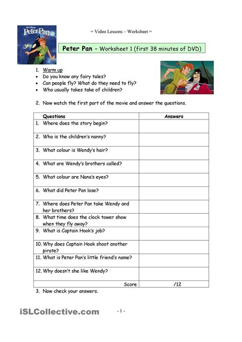 Video Worksheets For The Classic Disney Movie Peter Pan  English Language, Esl, Efl, Learn