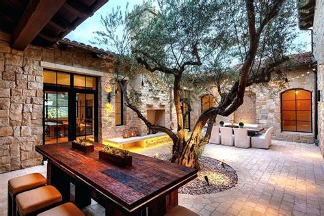 Villa Spanish Style Outdoor Patio Houses Rustic