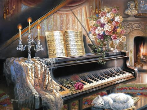 lovely living room with piano and fireplace wallpaper and