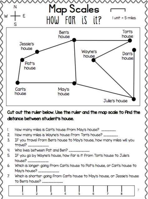 worksheets map scale worksheets for all and
