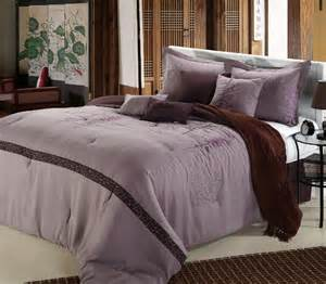 8pc lavender plum tree branch embroidered comforter set queen king cal king ebay