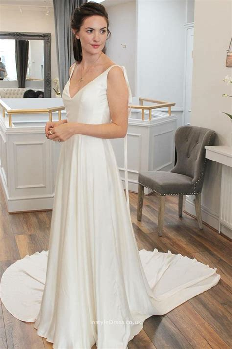 Aline Simple Plunging Vneck Satin Ivory Bridal Wedding. Princess Wedding Dresses Sydney. Wedding Mismatched Bridesmaid Dresses. Big Satin Wedding Dresses. Indian Wedding Dresses Used. Informal Wedding Dresses Nz. Vintage Wedding Gowns Gold Coast. Simple Chiffon Wedding Dress Low Back. Pale Pink Wedding Dress With Sleeves