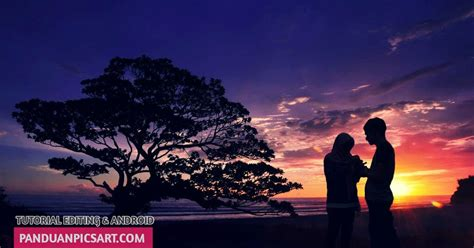 tutorial picsart membuat foto siluet background sunset