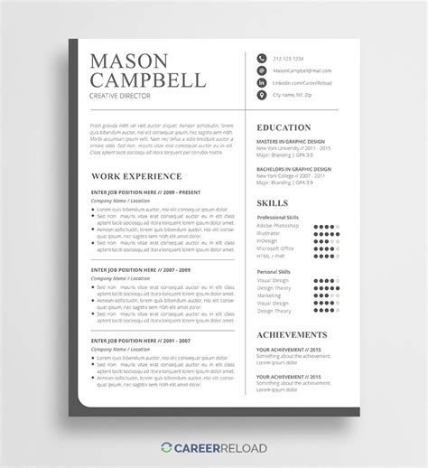 Free Photoshop Resume Templates by Free Resume Templates Free Resources For
