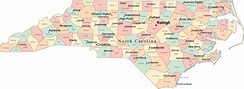 Nc Map With County Lines And Cities
