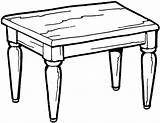 Table Coloring Pages Printable Kitchen Furniture Quiet Templates Meja Kartun sketch template