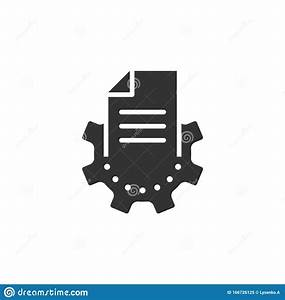Document With Gear Icon In Flat Style  Big Data Processing