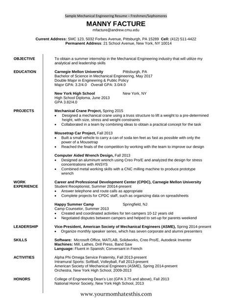 It Fresher Resume Format by 10 Fresher Resume Templates Pdf