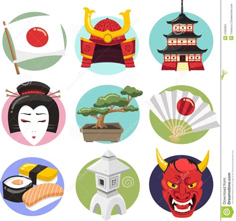 japan culture cartoon icons stock illustration