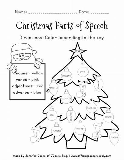 Speech Parts Worksheets Christmas Activities Printable Printables