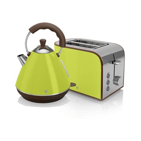Green Kettle And Toaster Set - swan retro kettle and 2 slice toaster set lime green in