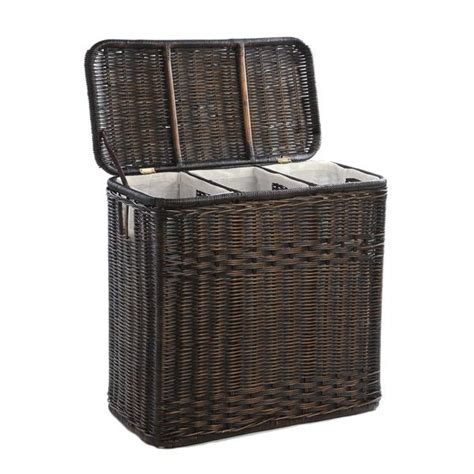 wicker kitchen furniture 3 compartment wicker laundry the basket