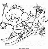 Coloring Skiing Cartoon Outline Vector Toonaday Leishman Ron Vecto Rs sketch template