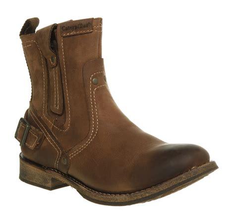 mens brown biker boots mens caterpillar vinson biker boot brown whoming leather