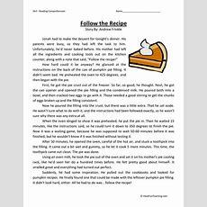 Follow The Recipe  Reading Comprehension Worksheet  Have Fun Teaching