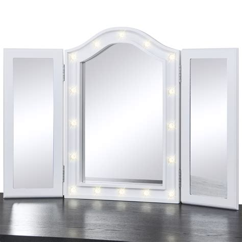 Table Top Vanity Mirror With Lights by Bcp Lighted Tabletop Tri Fold Vanity Mirror W Led Lights